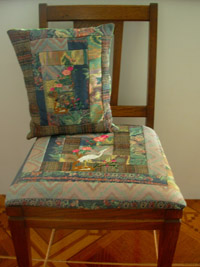 Pillow and chair seat with applique Florida egret